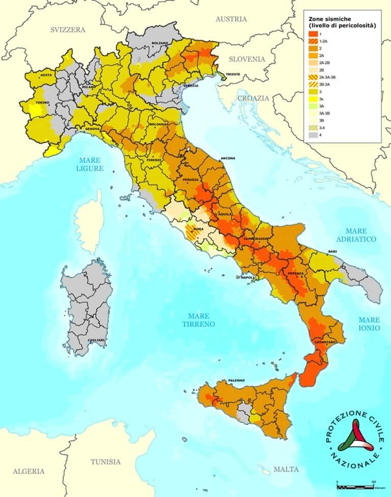 mappa zone sismiche italia